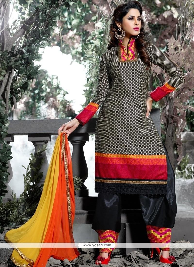 Spellbinding Cotton Lace Work Designer Salwar Suit