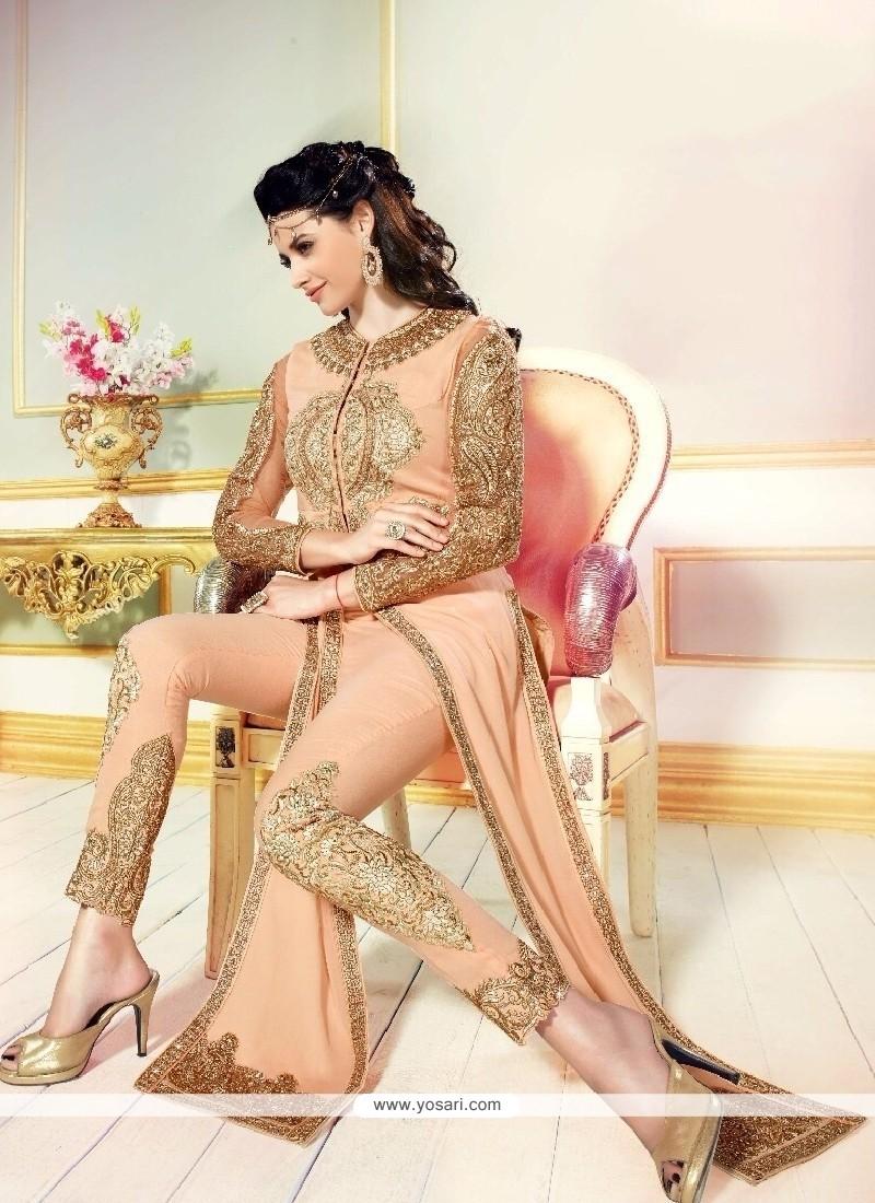 Lustre Georgette Peach Resham Work Designer Salwar Suit