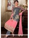 Dignified Grey And Pink Resham Work Punjabi Suit