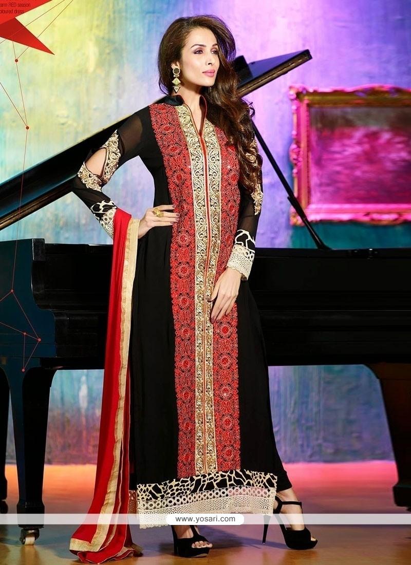 Malaika Arora Khan Resham Work Designer Straight Salwar Kameez