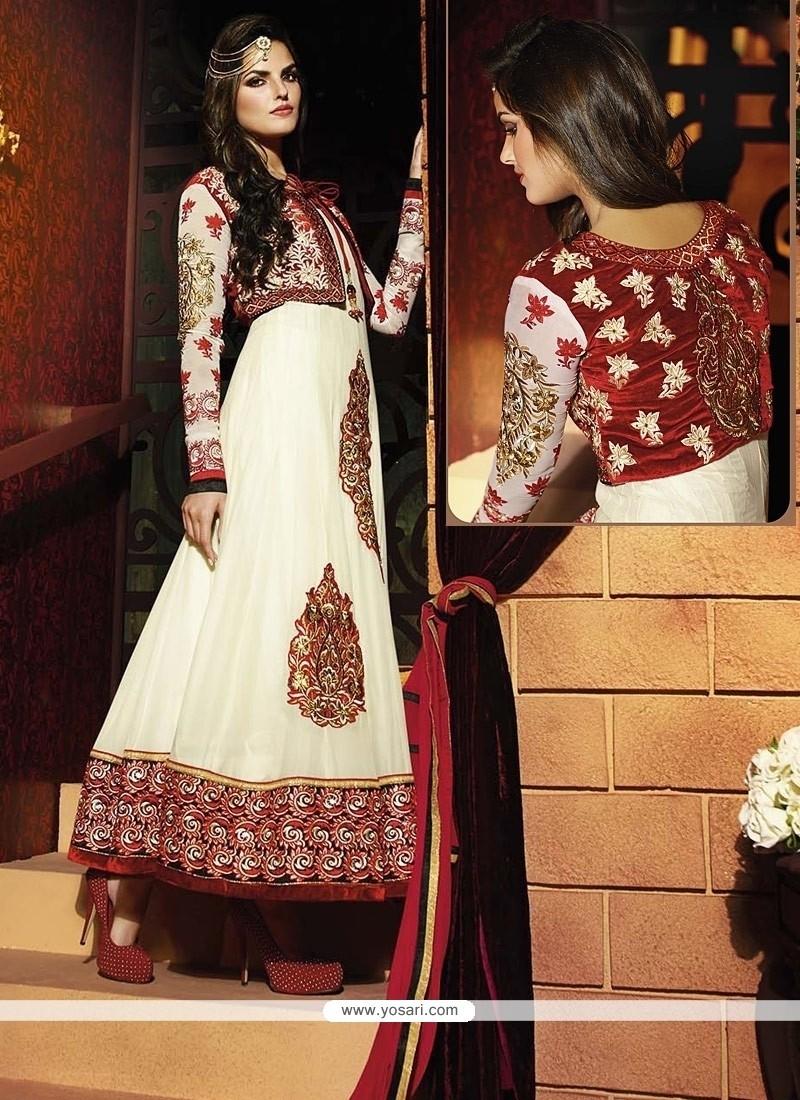 Affectionate White Anarkali Salwar Suit