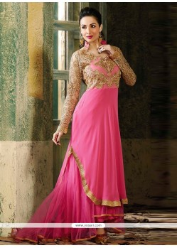 Malaika Arora Khan Embroidered Work Hot Pink Anarkali Salwar Suit