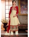 Captivating Cream And Red Embroidery Work Punjabi Suit