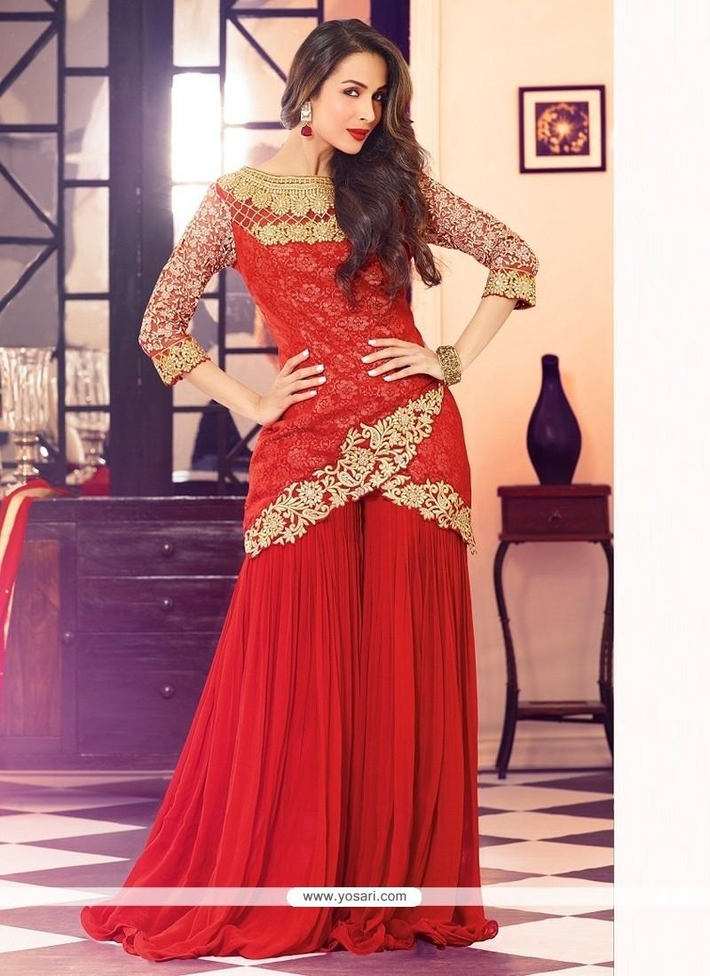 Malaika Arora Khan Red Designer Palazzo Salwar Suit