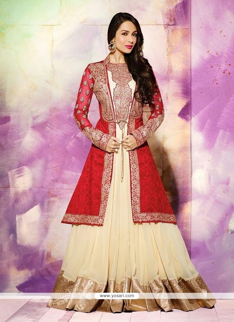 Malaika Arora Khan Cream And Red Anarkali Salwar Suit