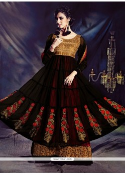 Jaaz Black And Maroon Embroidery Net Punjabi Suit