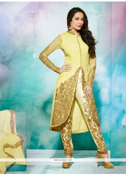 Malaika Arora Khan Zari Work Cream Designer Salwar Suit