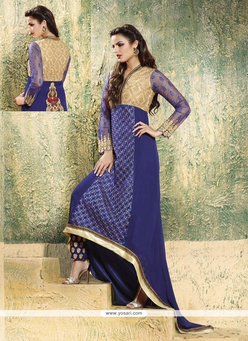 Sophisticated Embroidered Work Blue Georgette Designer Salwar Suit