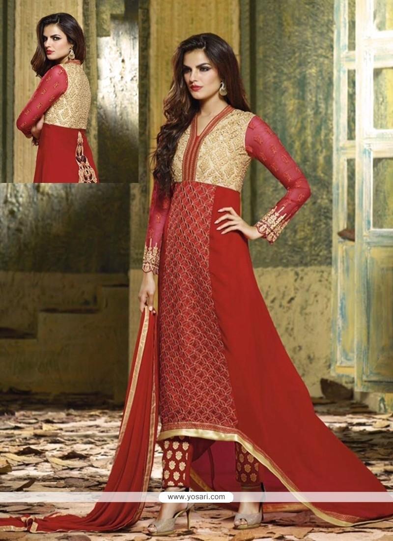 Competent Red Resham Work Designer Salwar Kameez