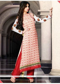 Competent White And Red Resham Work Punjabi Suit