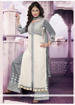 Festal Grey And White Embroidered Work Georgette Designer Palazzo Salwar Suit