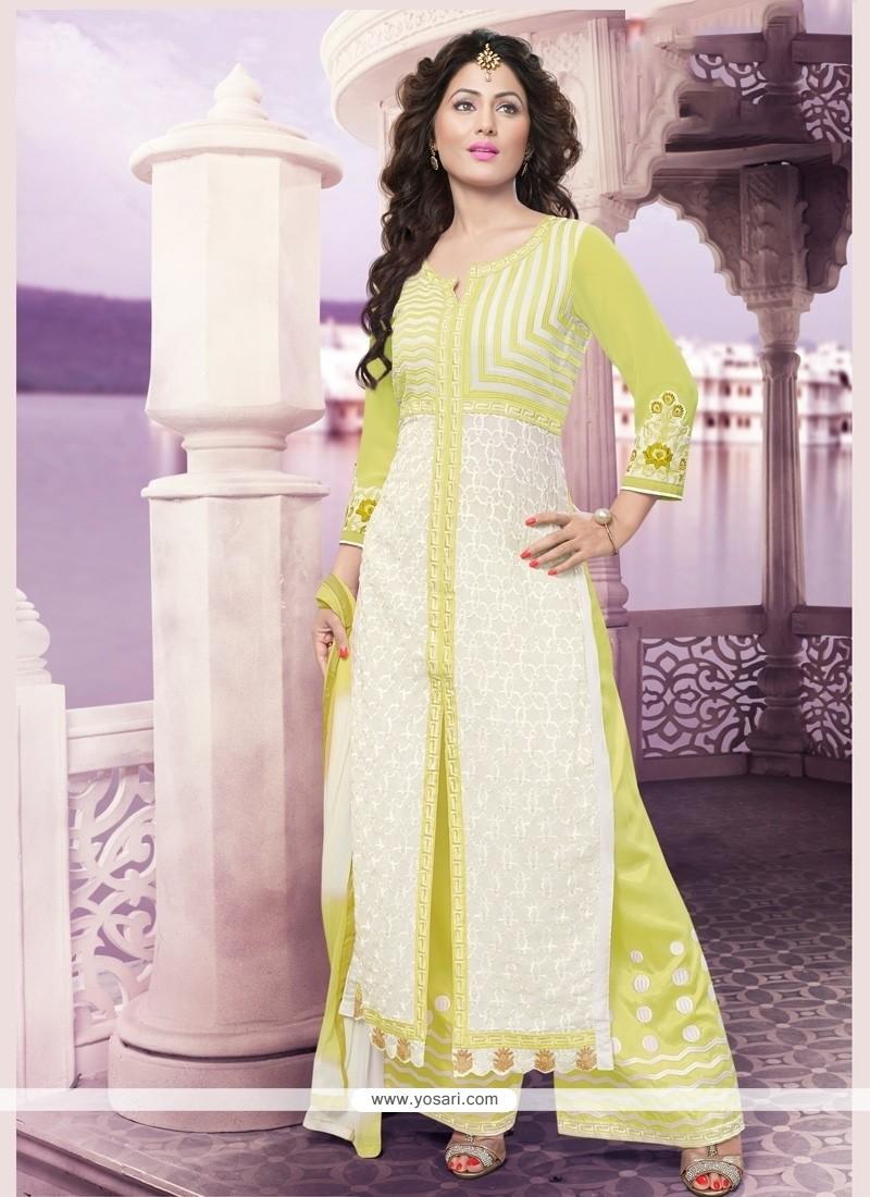 Surpassing Resham Work Green And White Georgette Designer Palazzo Suit
