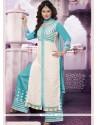 Subtle Blue And White Resham Work Designer Palazzo Suit