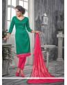 Impeccable Lace Work Sea Green Churidar Designer Suit