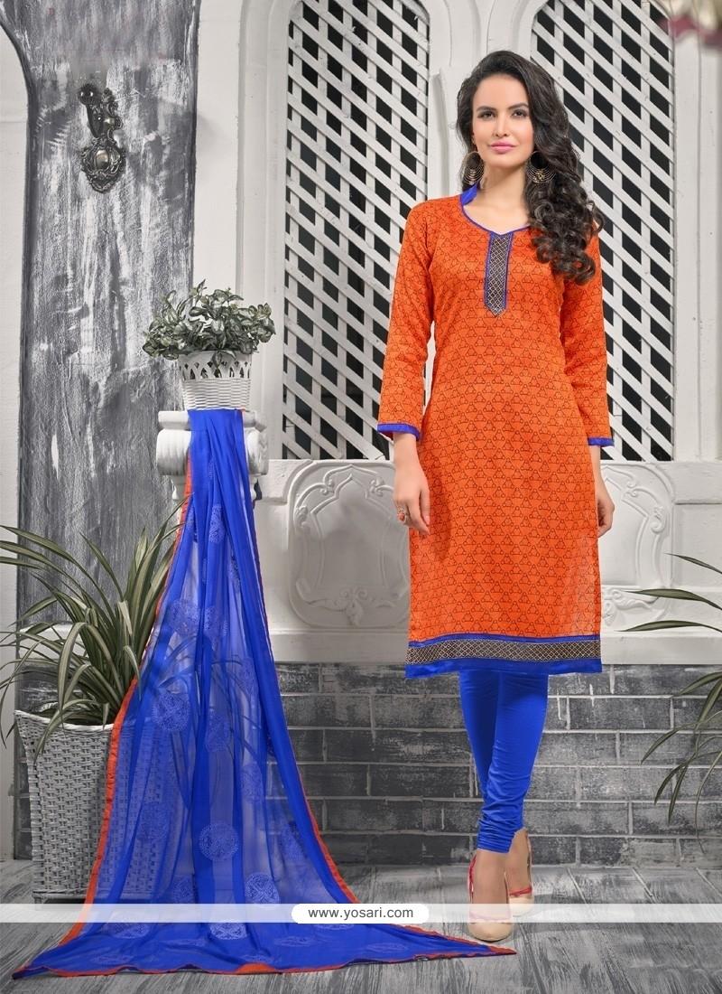 Orange Bhagalpuri Silk Churidar Designer Suit