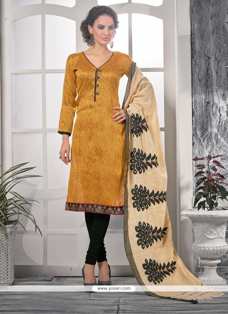 Fantastic Bhagalpuri Silk Print Work Churidar Designer Suit