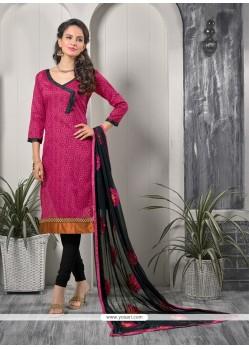 Voguish Lace Work Hot Pink Bhagalpuri Silk Churidar Designer Suit