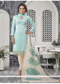Refreshing Print Work Blue Bhagalpuri Silk Churidar Designer Suit