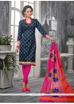 Miraculous Print Work Blue And Black Bhagalpuri Silk Churidar Designer Suit