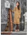 Simplistic Lace Work Bhagalpuri Silk Churidar Designer Suit