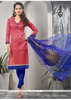 Flattering Bhagalpuri Silk Lace Work Churidar Designer Suit