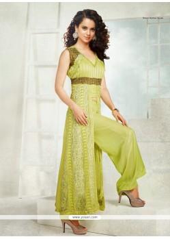 Kangana Ranaut Green Resham Work Punjabi Suit