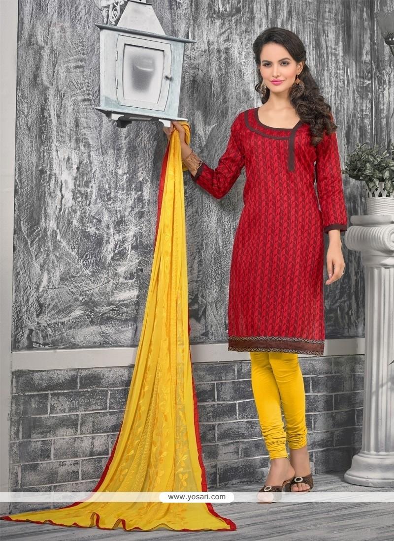 Whimsical Bhagalpuri Silk Red Lace Work Churidar Designer Suit