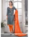 Baronial Grey Print Work Churidar Designer Suit