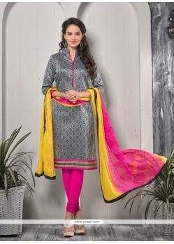 Delightsome Print Work Grey Churidar Designer Suit