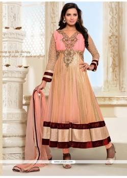 Glossy Net Zari Work Anarkali Suit