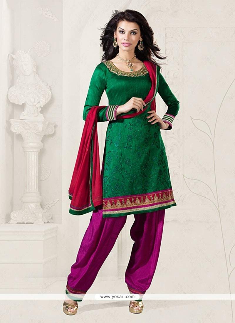 Green Embroidery Work Fancy Fabric Salwar Kameez