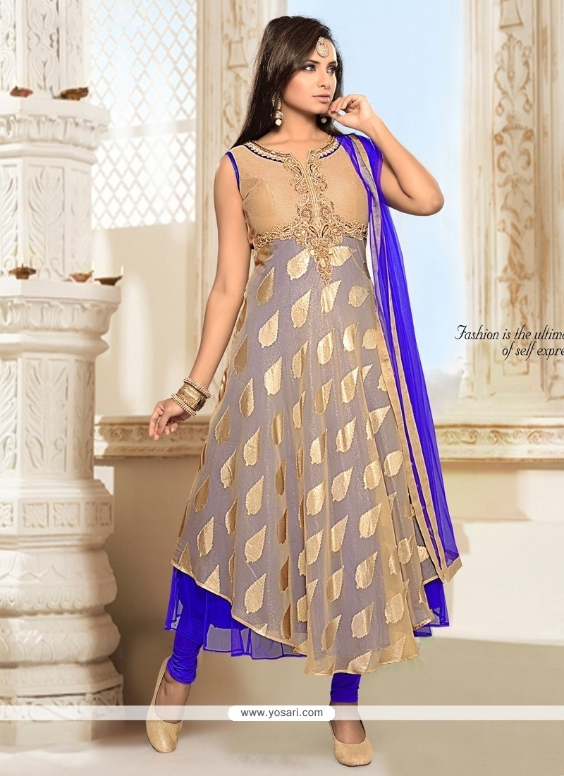 Innovative Resham Work Net Anarkali Salwar Suit