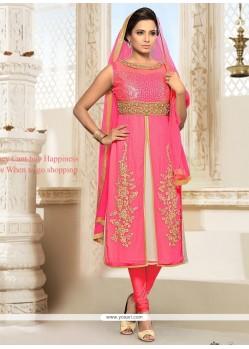 Exceptional Hot Pink Embroidered Work Shimmer Georgette Churidar Designer Suit