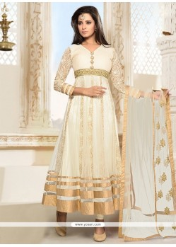 Aesthetic Off White Embroidered Work Anarkali Suit
