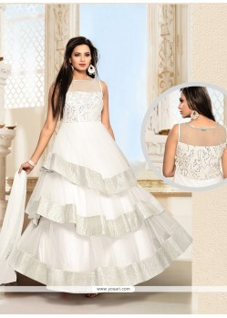 Dazzling Resham Work Net White Anarkali Salwar Suit