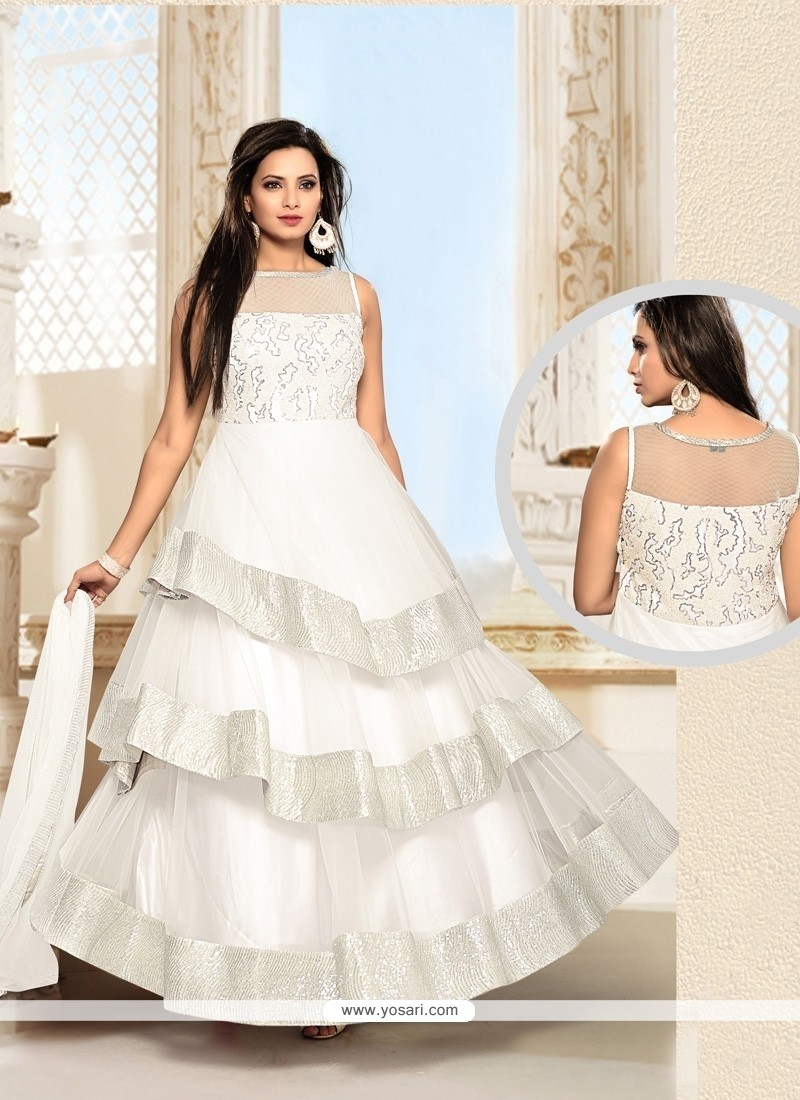 Dazzling Resham Work Net White Anarkali Salwar Suit