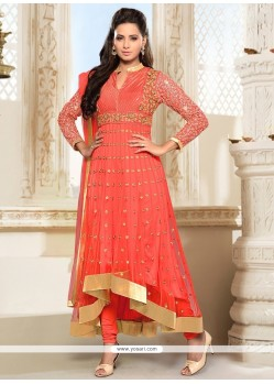 Orange Net Anarkali Salwar Kameez