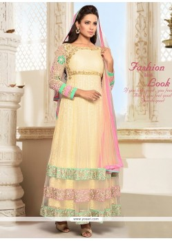 Intrinsic Net Cream Patch Border Work Anarkali Salwar Suit