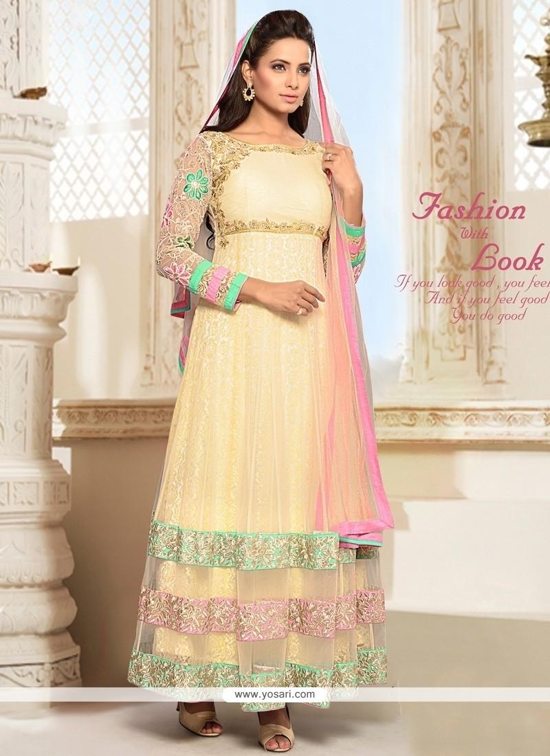 Intrinsic Net Cream Patch Border Work Anarkali Salwar Suit