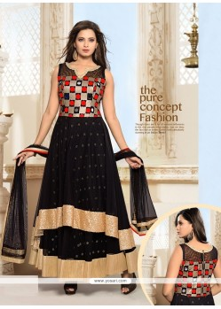 Sorcerous Black Patch Border Work Net Anarkali Salwar Suit