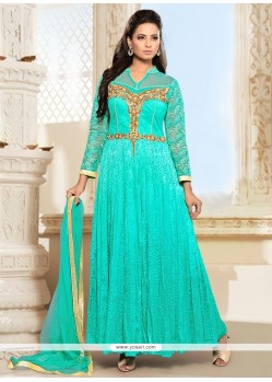 Integral Embroidered Work Turquoise Net Anarkali Salwar Suit
