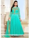 Integral Embroidered Work Turquoise Net Anarkali Salwar Suit