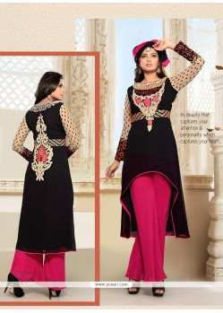 Perfervid Embroidered Work Net Black Designer Salwar Suit
