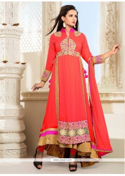 Modish Embroidered Work Georgette Orange Anarkali Salwar Suit