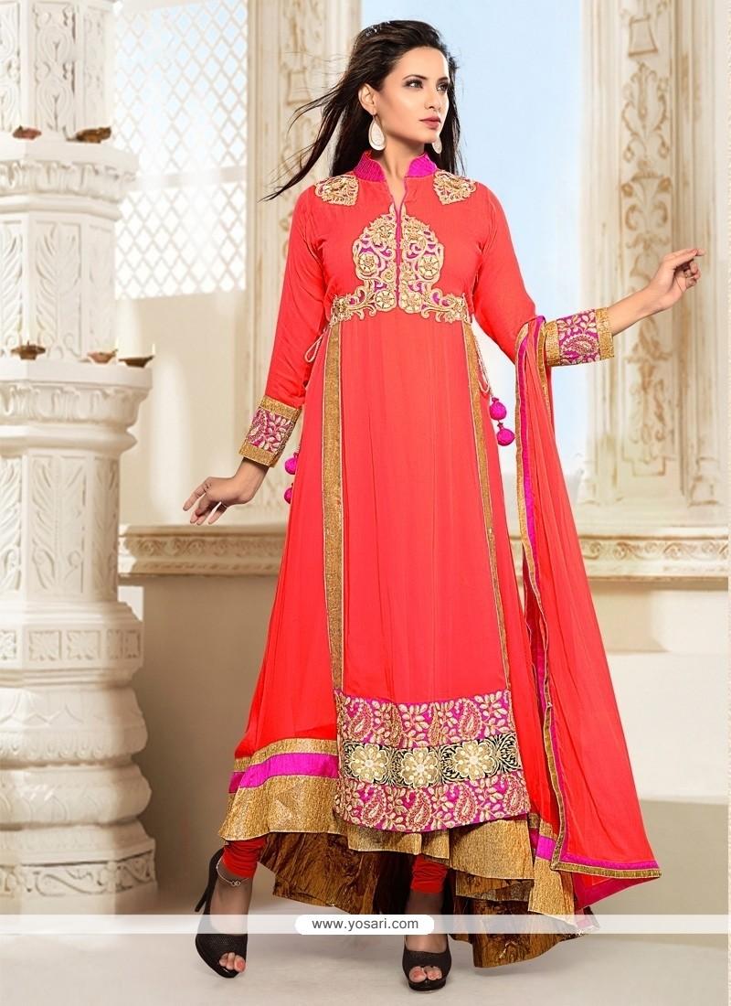 Modish Embroidered Work Georgette Orange Anarkali Salwar Suit