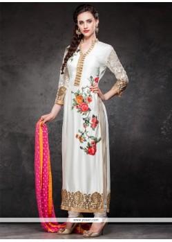 Competent Resham Work Raw Silk Designer Straight Salwar Kameez