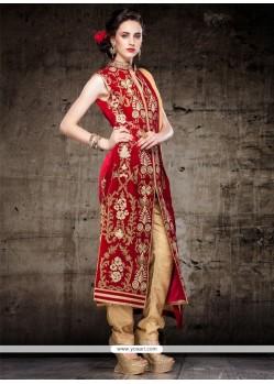 Royal Velvet Maroon Lace Work Designer Straight Salwar Kameez