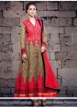 Pleasing Embroidered Work Net Anarkali Salwar Suit