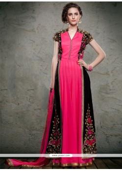 Invaluable Hot Pink And Black Embroidered Work Anarkali Salwar Kameez
