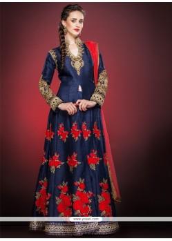 Invaluable Blue Raw Silk Anarkali Salwar Suit